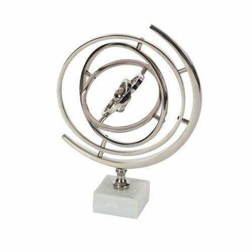 Incredible Aluminium Armillary Sphere On Ceramic Stand, Silver