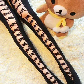 Crossed Straps Black Tights [NCSPK0040] - $18.99 :