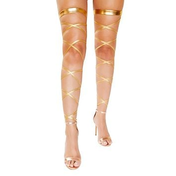 Sexy Athena Goddess Gartered Metallic Leg Wraps
