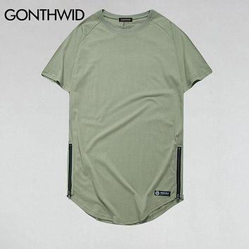 Side Zipper Curved Hem Longline T Shirts Men Hip Hop Urban Extended Tops Tee Hipster Swag T shirts