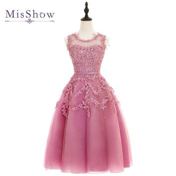 Cheap Dust Pink Beaded Lace Tulle Prom Dresses 2017 Christmas dress vestido de festa short prom dress appliques gala Party dress