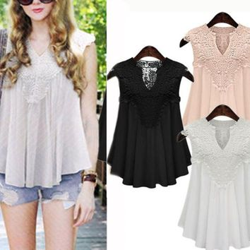 New Women's Plus Size + Lace Sleeveless Shirt Casual Vest Blouse Loose Tank Tops
