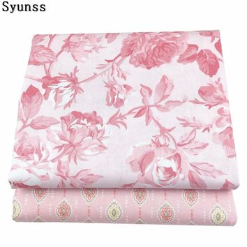 Syunss Floral Printed 100% Twill Cotton Fabric DIY Handmade Sewing Patchwork Baby The Cloth Bedding Textile Quilt Tilda Tissus