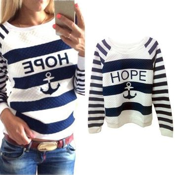 Women Lovely Hoodies Hot Anchors Striped Causal Tracksuit Blue White Patchwork Sweatshirts Ladies Pullover Free Shipping