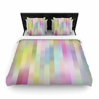 "Dawid Roc ""Sweet Pastel Lines 1"" Green Pink Woven Duvet Cover"