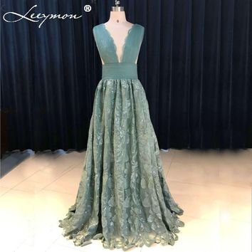 Elegant Delicate Teal Lace Prom Dress 2017 V-Neck Sexy Open Back Pleat Evening Dresses robe de soiree Long Prom Dresses