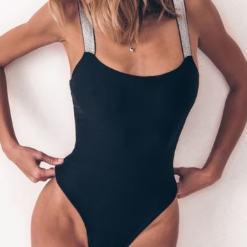 New flash bandage bikini solid color one-piece swimsuit female one-piece swimsuit backless bikini