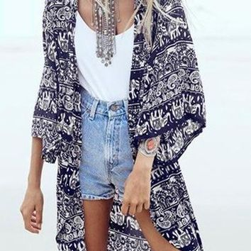 ZANZEA 2018 Women Boho Kimono Cardigan Summer Blouse Floral Print 3/4 Sleeve Casual Long Vintage Shirt Tops Cover Up Plus Size