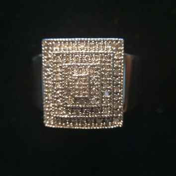 Vintage Diamond Cluster Ring with Ascending Squares of Small Diamonds in Sterling Silver. Art Deco Style with Think Band. April Birthstone.