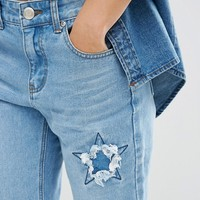 Boohoo Star Distressed Jean