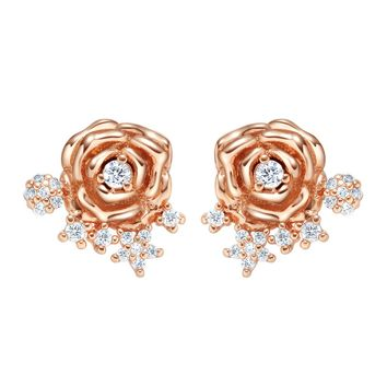 Adorable Magical Roses Positive Energy Flowers Gold-Tone Lucky Charms Sparkling Crystals Earrings