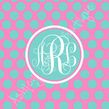 Pink and Blue Polka Dots Monogram iPad Wallpaper