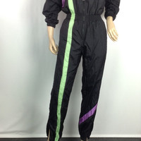 80s Tracksuit One Piece Jumpsuit Black and Neon Jacket Windbreaker Sergio Tacchini Athletic Wear S XS