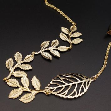 Vintage Leaves Clip Gold Olive Leaf Hair Cuff Chains Headband Comb Boho