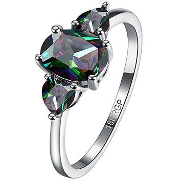 AWLY Women 18k White Gold Plated 3 Stone Oval Cut Colored Multicolor CZ Heart Shape Promise Wedding Ring