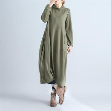Johnature Women Turtleneck Dress Brief Spring Autumn New Casual Long Sleeve Pullover Loose Robe Cotton Women Soft Dresses