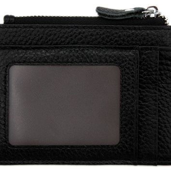 RFID Blocking Genuine Leather Wallet - Credit Card Holder with Key Ring and ID Window