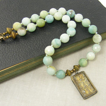 Amazonite Necklace, Buddha Pendant, Tribal Aqua Gemstone Necklace, Rustic Chunky Bead Jewelry