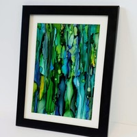 Abstract Art, Alcohol Ink on Yupo Paper.  Beautiful Abstract Wall Art that is Green, 5x7 Size. Ink Painting, Yupo Paper Art.