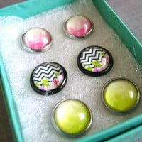 Pink and Green Stud Set : Glass Earrings Chevron