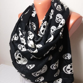20% REAL DISCOUNT - Black Pashmina Scarf, Black Skull Scarf, Cotton Scarf, Halloween Gifts, Scarf Shawl, Womens Fashion Accessories Gift,