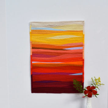 Quilted Wall Hanging, Sunset, Desert, Fiber Art, Red, Orange, Yellow, Ombre