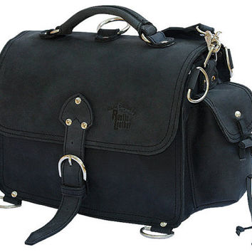 Leather Satchel Messenger Bag, Purse MEDIUM - Charcoal Black  Distressed, Rugged