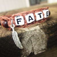 Feather Charm Hemp Bracelet Fate Fishbone Knot Macrame Brown