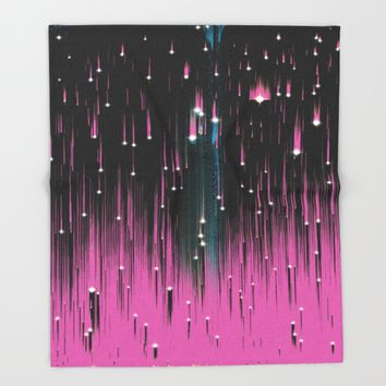 Pink Meteors Throw Blanket by DuckyB