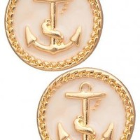 Ship Ahoy Round Anchor Pendant Earrings in Ivory | Sincerely Sweet Boutique