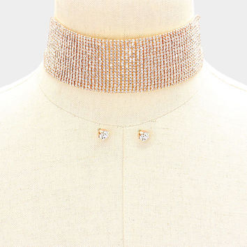"12"" rose gold crystal choker collar necklace 3.50"" wide bridal prom pageant"