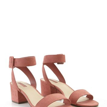 Faux Suede Ankle-Strap Sandals