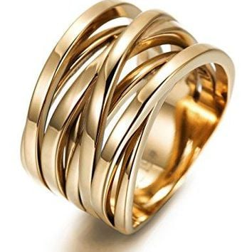 Fashion Stainless Steel Rings for Women Girls X Cross Wide Band Cocktail Statement Ring
