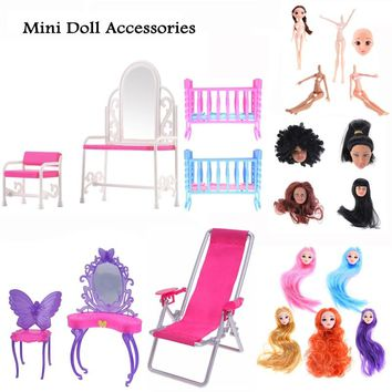 Dressing Table Chair Accessories Miniature Dressing Table and Chair Set For Barbie Dolls Furniture Toy