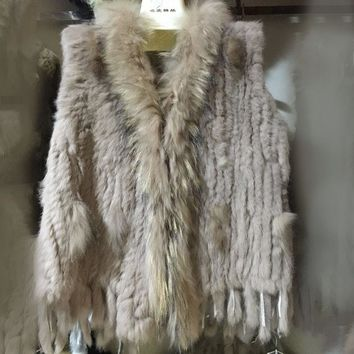 Fur vest  Rabbit fur knitted vest raccoon fur collar Flower Hair woven raccoon fur coat with tassels vest for women