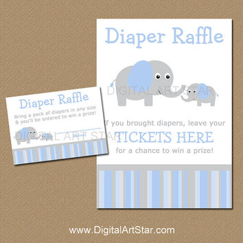 Elephant Diaper Raffle Tickets and Sign - Printable Blue and Grey Elephant Party Game - Baby Shower Game - Blue Elephant Diaper Raffle Game