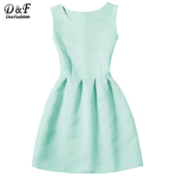 Dotfashion Ladies Cute Summer Style Skater Dresses 2016 New Arrival Casual Women Sleeveless Jacquard A-Line Short Dress