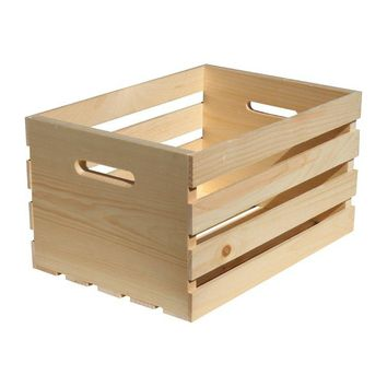 "Crates & Pallet 67140 Unfinished Pine Wood Crate, Large, 18"" x 12.5"" x 9.5"""