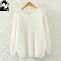 2018 autumn winter cashmere sweater women fashion sexy O-neck sweater loose fluffy wool women sweaters and pullovers