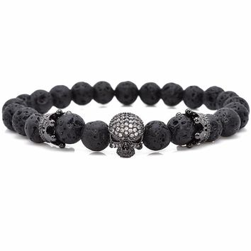 Natural Beads Strand Bracelet CZ Skeleton Skull Black Lava Rock Jewelry