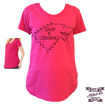 Baby Is Coming Maternity Shirt. Maternity Shirt. Pregnancy Tee. Pregnancy Shirt. Prego.  T-shirt.