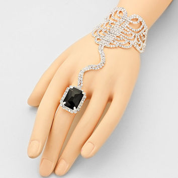 """ Seductive ""  Emerald Cut Swirl Rhinestone Bracelet & Black Crystal Ring Combo On Silver Tone"