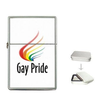 Gay Pride Design on a Flip Top Lighter w/ Box NEW.