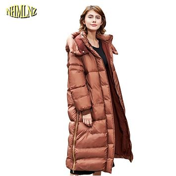 2017 New Winter Women Down Jacket Warm High quality Long sleeve Solid color Hooded Fashion Women Coat Casual Comfortable WUN624