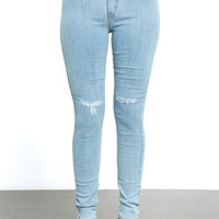 Brooklyn Bridge Light Wash Distressed High-Waisted Skinny Jeans