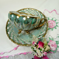 Vintage Tea Cup and Saucer Royal Sealy Aqua Lusterware with Vintage Bridal Hankie and Corsage Pin Gift Set