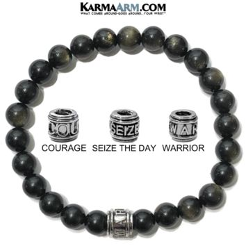 Mantra Motivation Bracelet | Golden Obsidian | COURAGE | SEIZE THE DAY | WARRIOR Bracelet