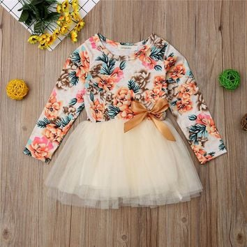1-6Years Toddler Kids Baby Girls Floral Party Pageant Tutu Princess Dress Clothes