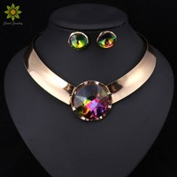 6Color Women Jewelry Sets Trendy Necklace Earrings Statement Necklace For Party Wedding Fashion Direct Selling
