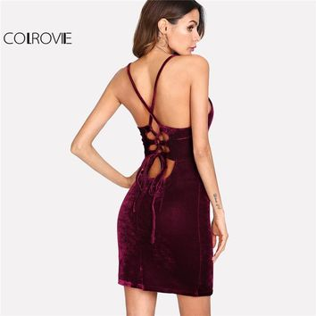 COLROVIE 2018 Deep V Neck Spaghetti Strap Party Dress Women Backless Lace Up Open Back Velvet Cami Dress Maroon Sexy Dress